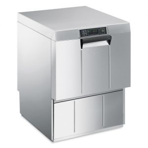 SMEG - Lavastoviglie professionale a carica frontale, doppia parete, dosatore detergente, cesto 500mm, adatta per lavaggio teglie UD516D