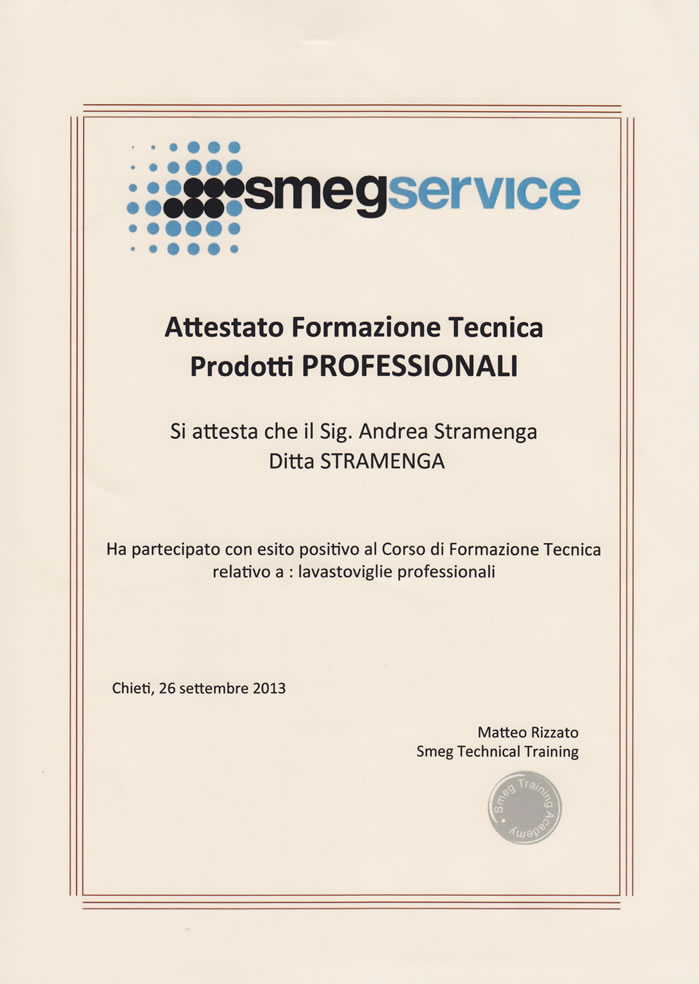 Certificato Smeg